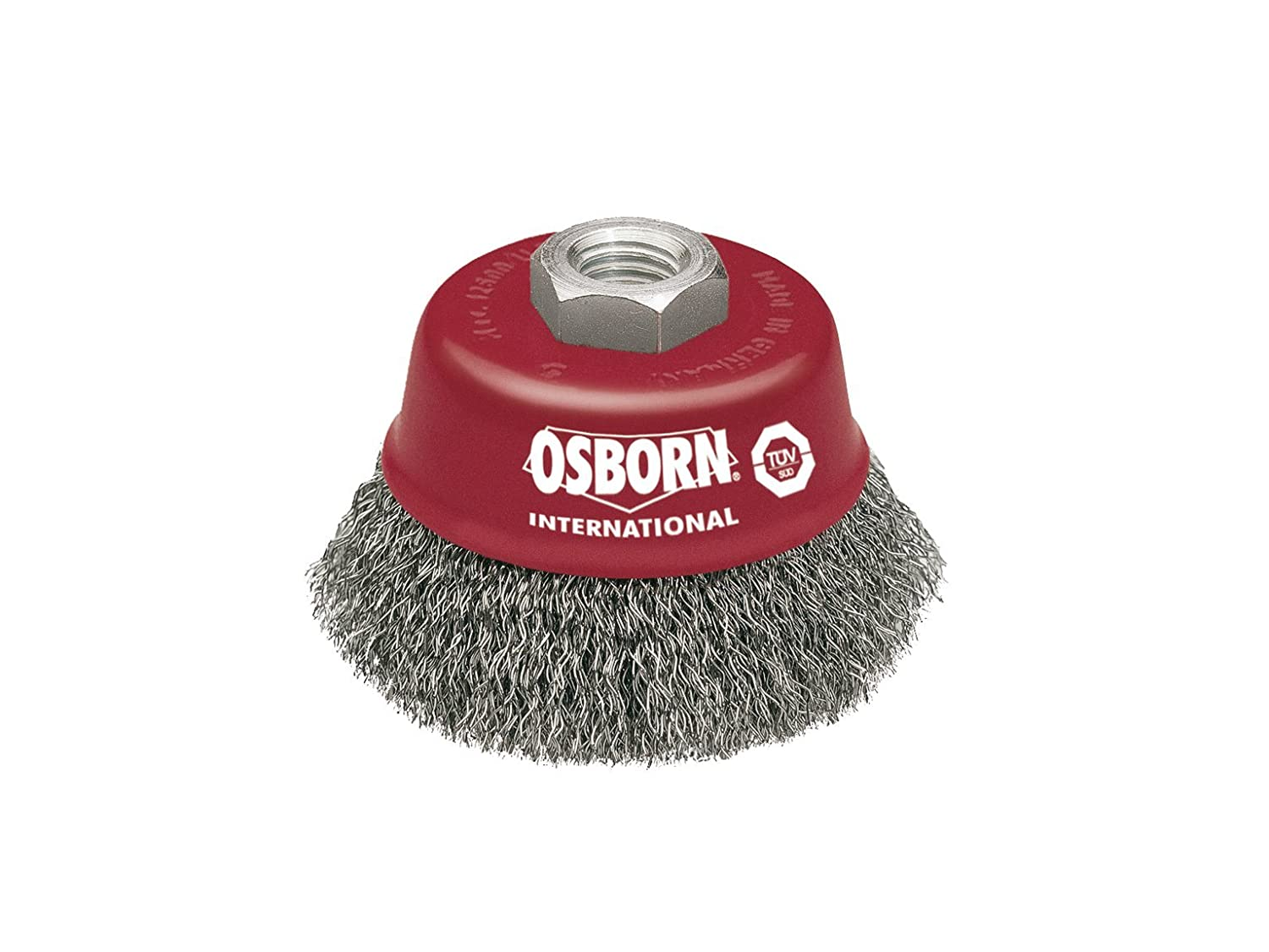 Osborn 2613162 Cup Brush M14X2 Crimped of Steel Wire, 0 V, Silver/Red