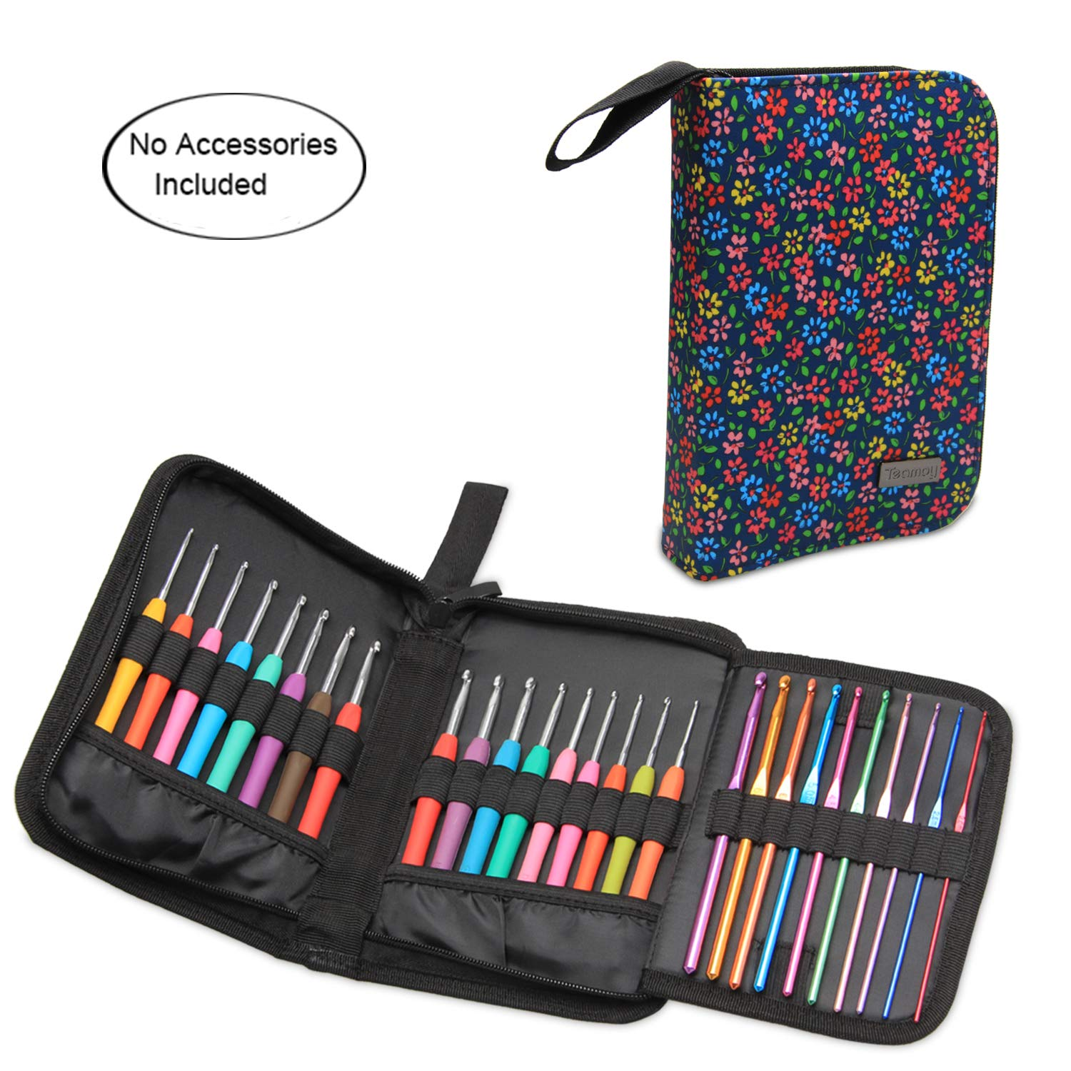 Teamoy Crochet Hook Case, Travel Carry Bag for Ergonomic Crochet Hooks Kits, Aluminum Crochet Hooks, Steel Crochet Hook and More, Lightweight, Well Made-NO Accessories Included, Flowers Blue