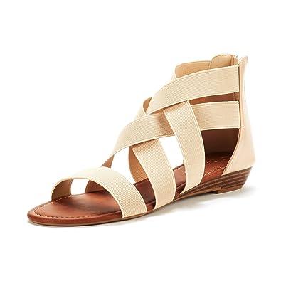 5cf2ec416a76 DREAM PAIRS Women s ELASTICA8 Nude Elastic Ankle Strap Low Wedges Sandals  Size 6 M US