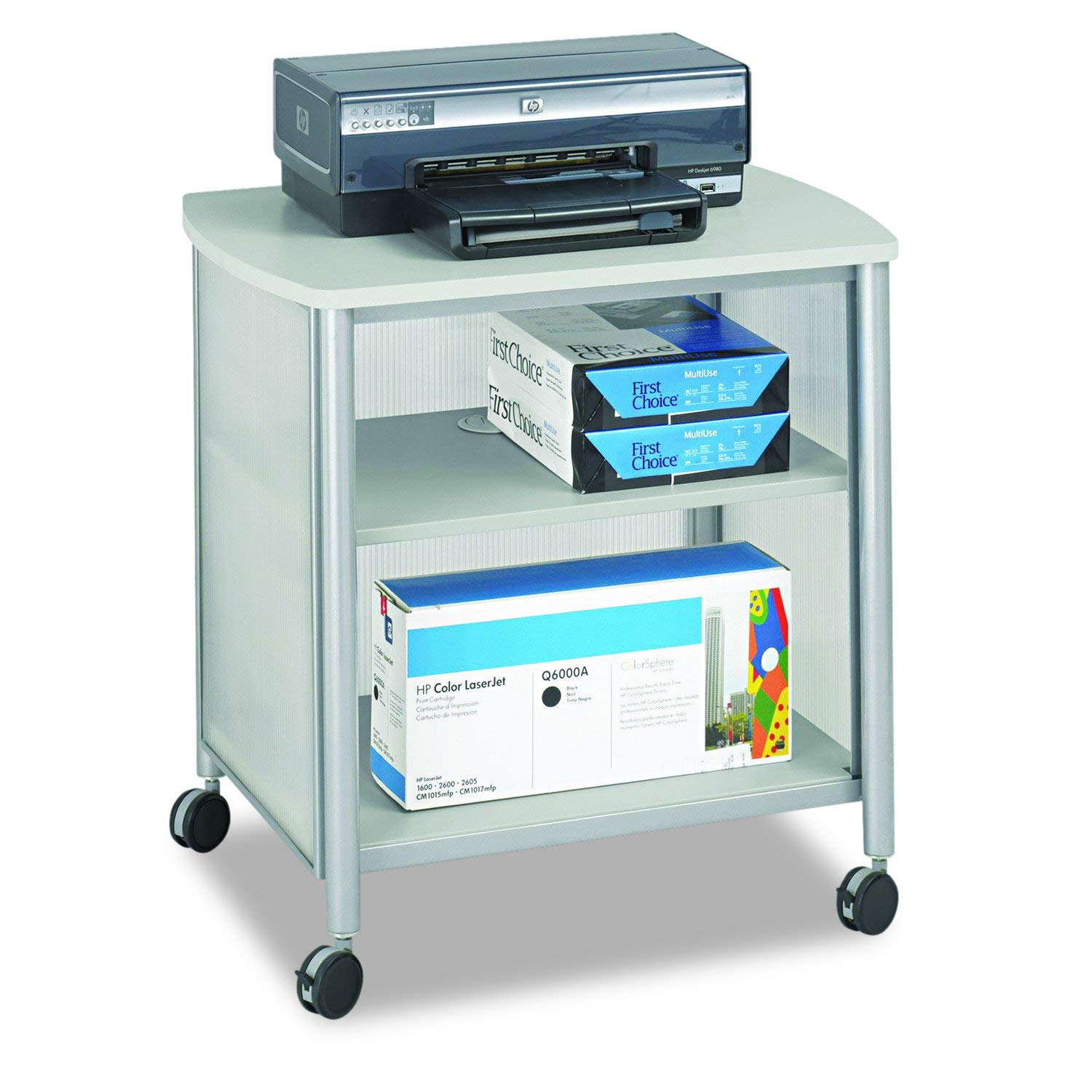 Safco Products Impromptu Mobile Print Stand 1857GR, Gray, 200 lbs. Capacity, Contemporary Design, Swivel Wheels by Safco Products