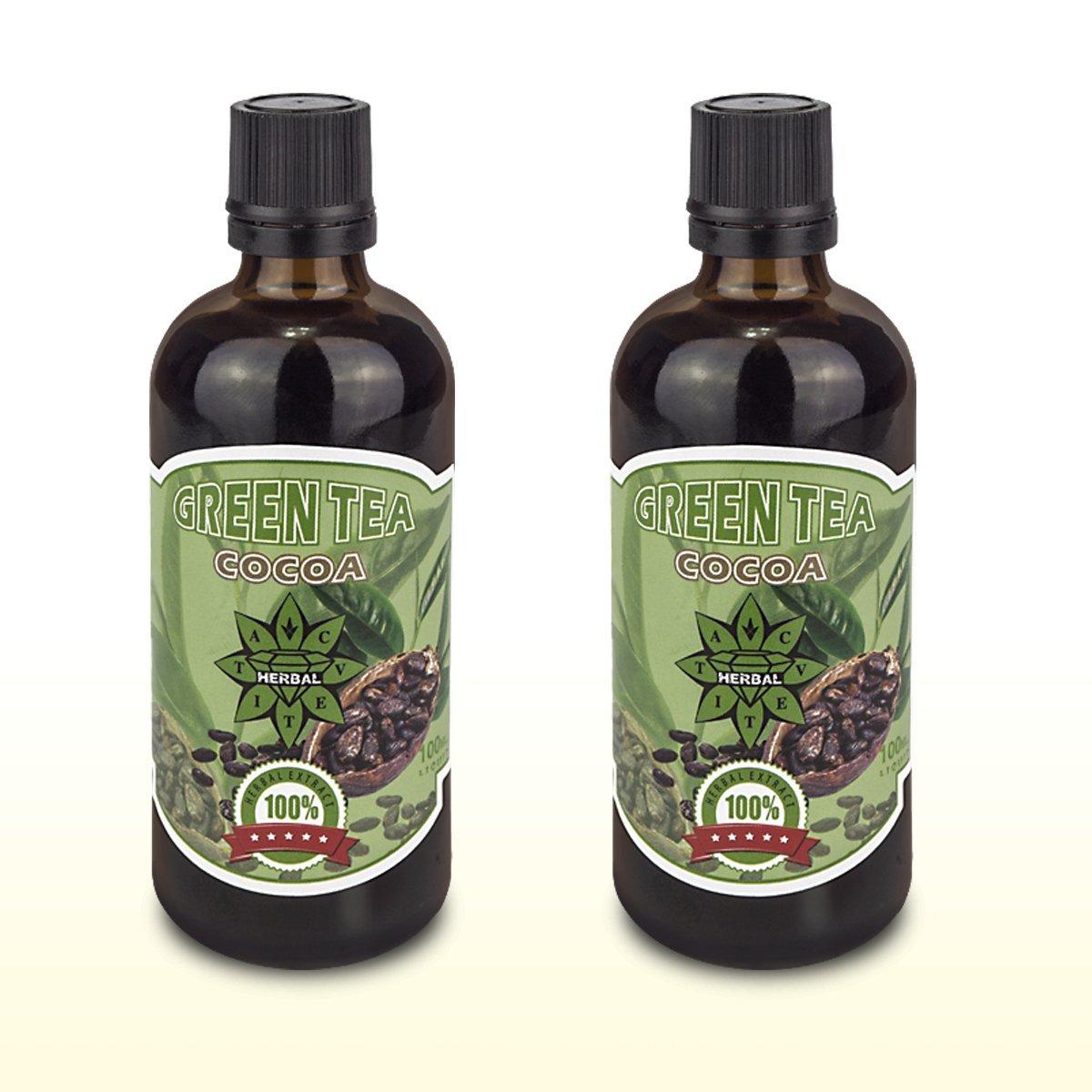 Cvetita Herbal, Té verde con del Cacao, Green Tea with cacao 2 x100 ml sérum líquido de extracto de pérdida de gestión de peso natural, propulseur de ...