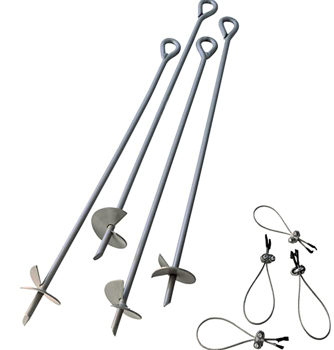 ShelterLogic ShelterAuger 4-Piece 30-Inch Reusable Heavy Duty Steel Earth Auger Anchor Kit with 4 Clamp-on Wire Tie-Downs for Anchoring Shelters, Canopies, and Instant Garages