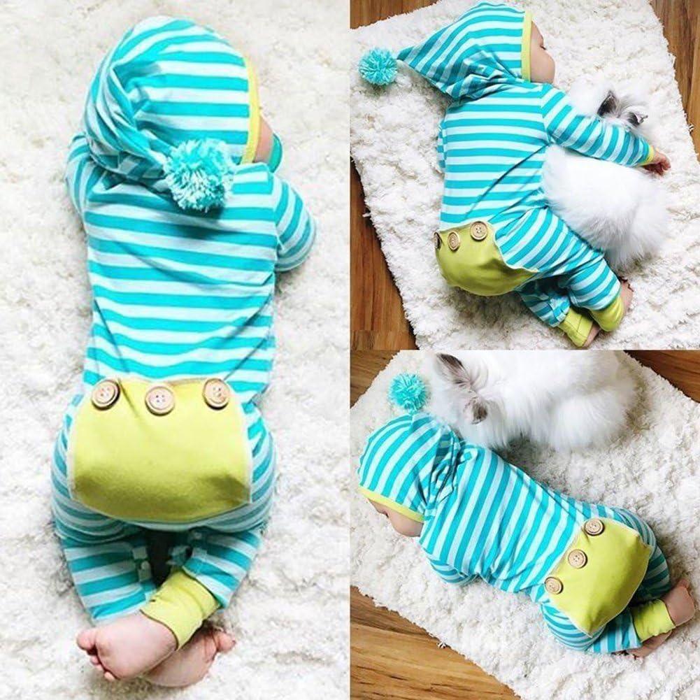 zhouba recién nacido bebé algodón Pelele de manga larga de una sola pieza diseño de rayas Fluffy pelota con capucha mono azul celeste Talla:0-6M