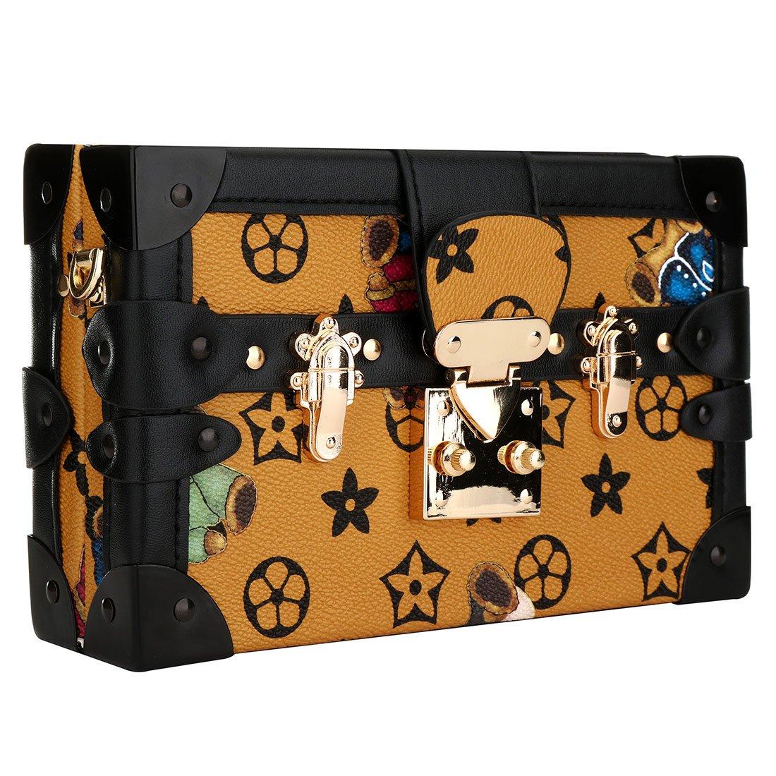 EROUGE Designer Handbags PU Leather Satchel Handbags Women Shoulder Bag for Wedding Party(Khaki)