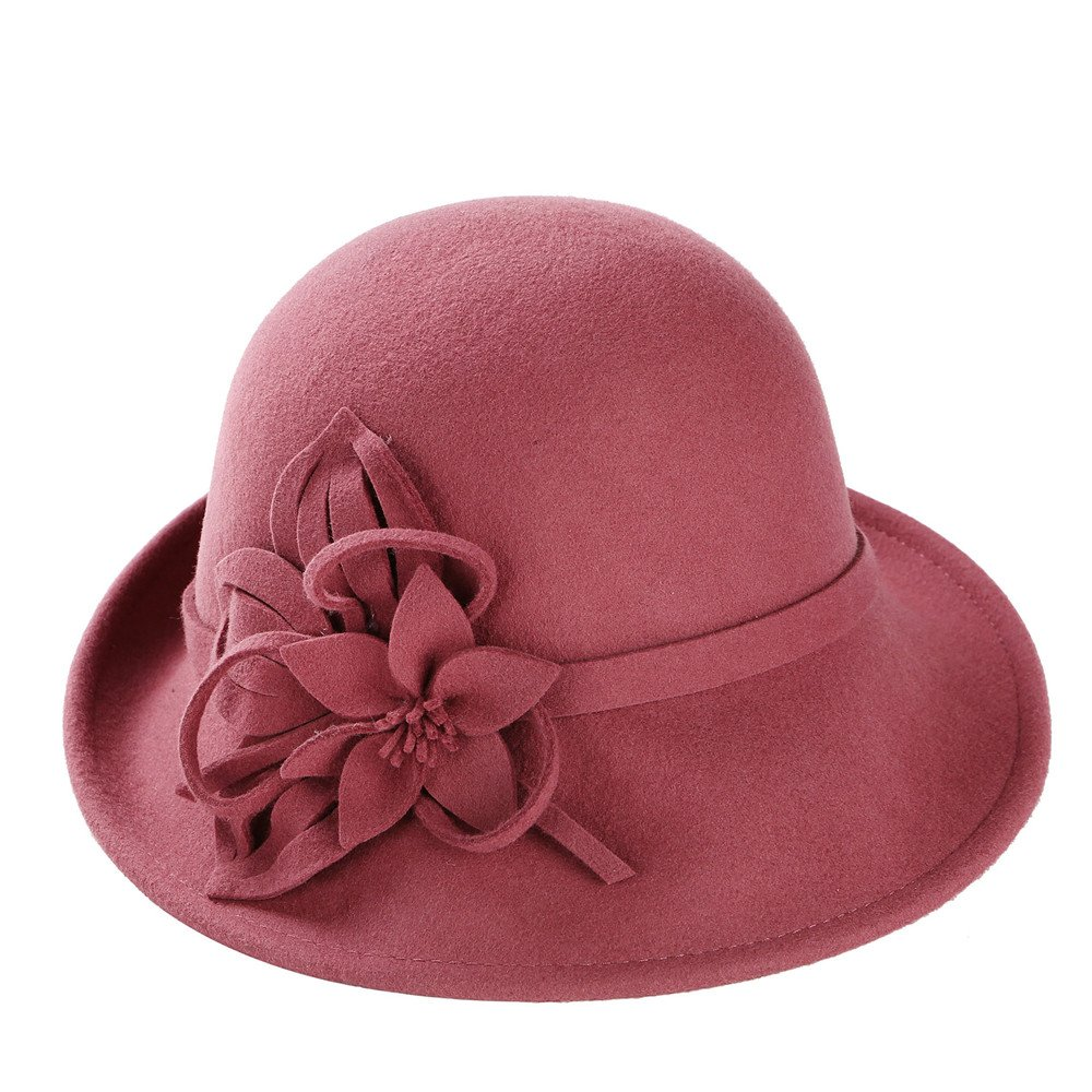 Cloche Hat Women Lady Girls Plain Elegant Flower Autumn Winter Dressy Felt Cap doublebulls DH1550C