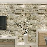 HANMERO® papel pintado imitación ladrillo, color beige, crema blanco y gris