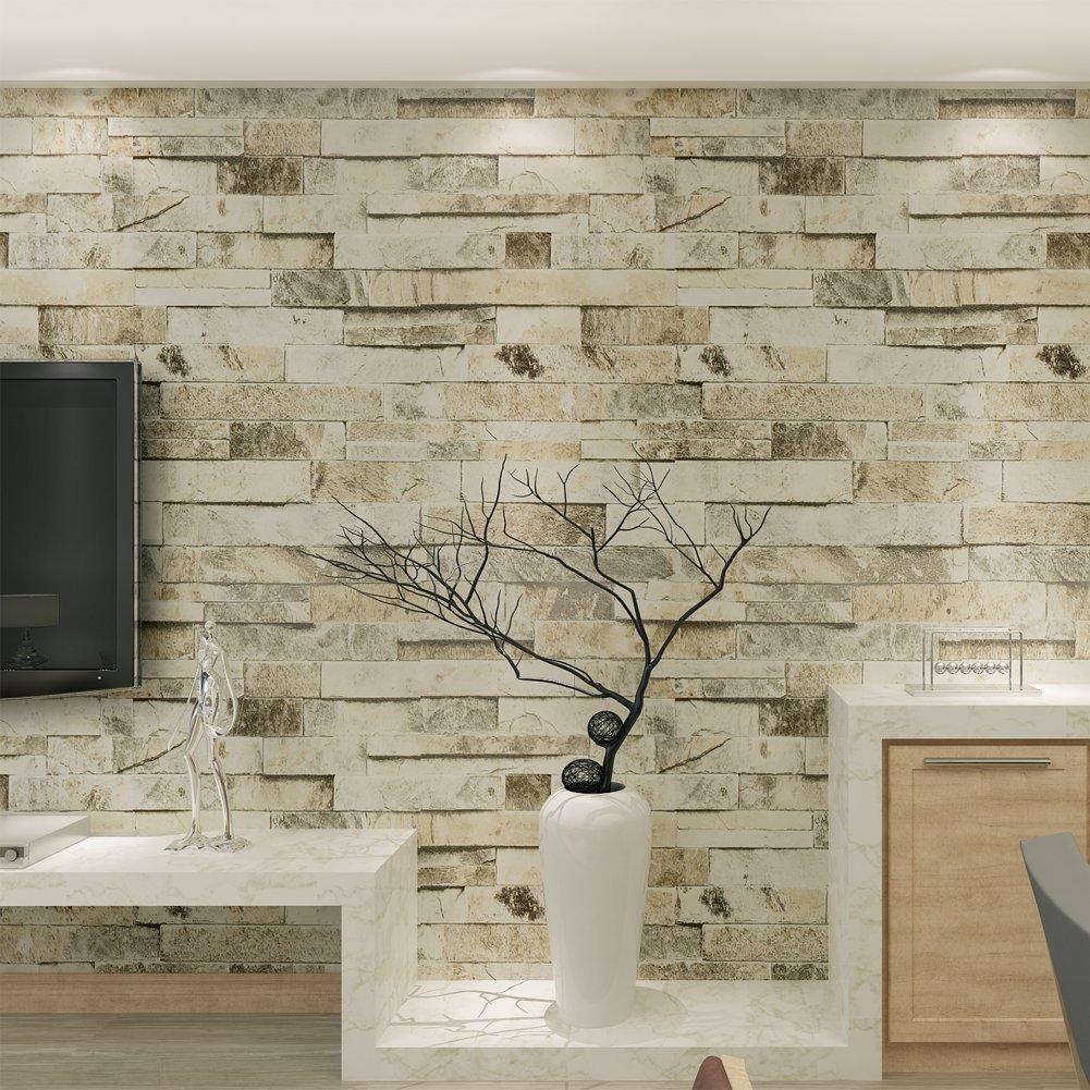 HANMERO 3D Rural Imitation Faux Gray Brick Stone Block Textured Vinyl Wall Paper Murals Roll for Living Room/Bedroom/TV Background Home Decor 20.86'' x 397.3''