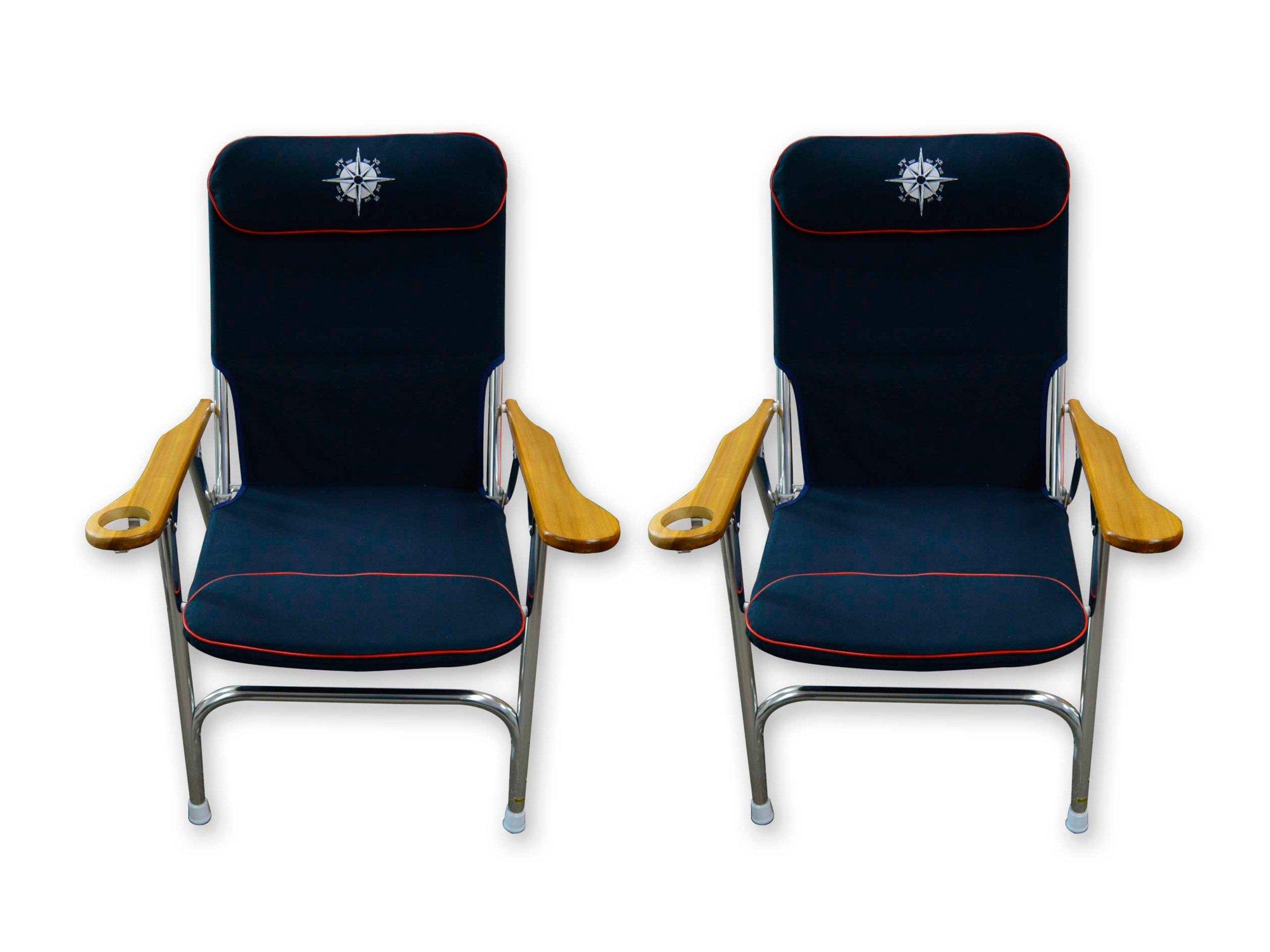Five Oceans Navy Blue Skipper Deck Chair (Set of 2) - BC 3884