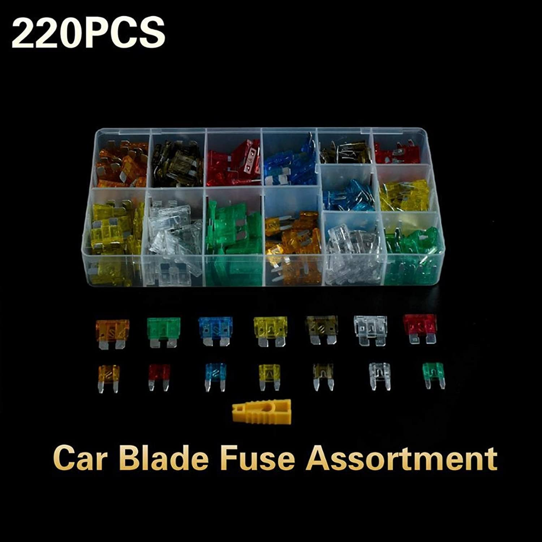 5-30A 220pcs Mini fusibles Kits variados Coche Medio Medio Tamaño de tamaño pequeño Fusible estándar para automóviles Auto Car Truck Bus Camión APM cajero automático ( Size : 220pcs in box )