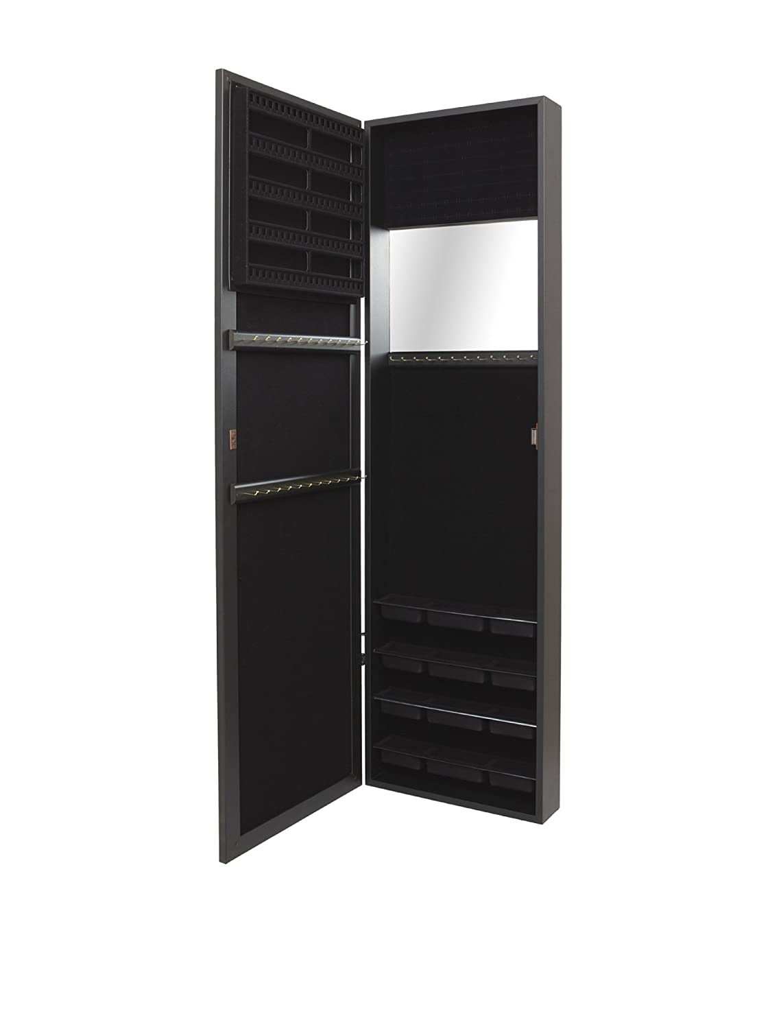 Amazon.com: Plaza Astoria Wall/Door Mount Jewelry Armoire, Black: Home U0026  Kitchen