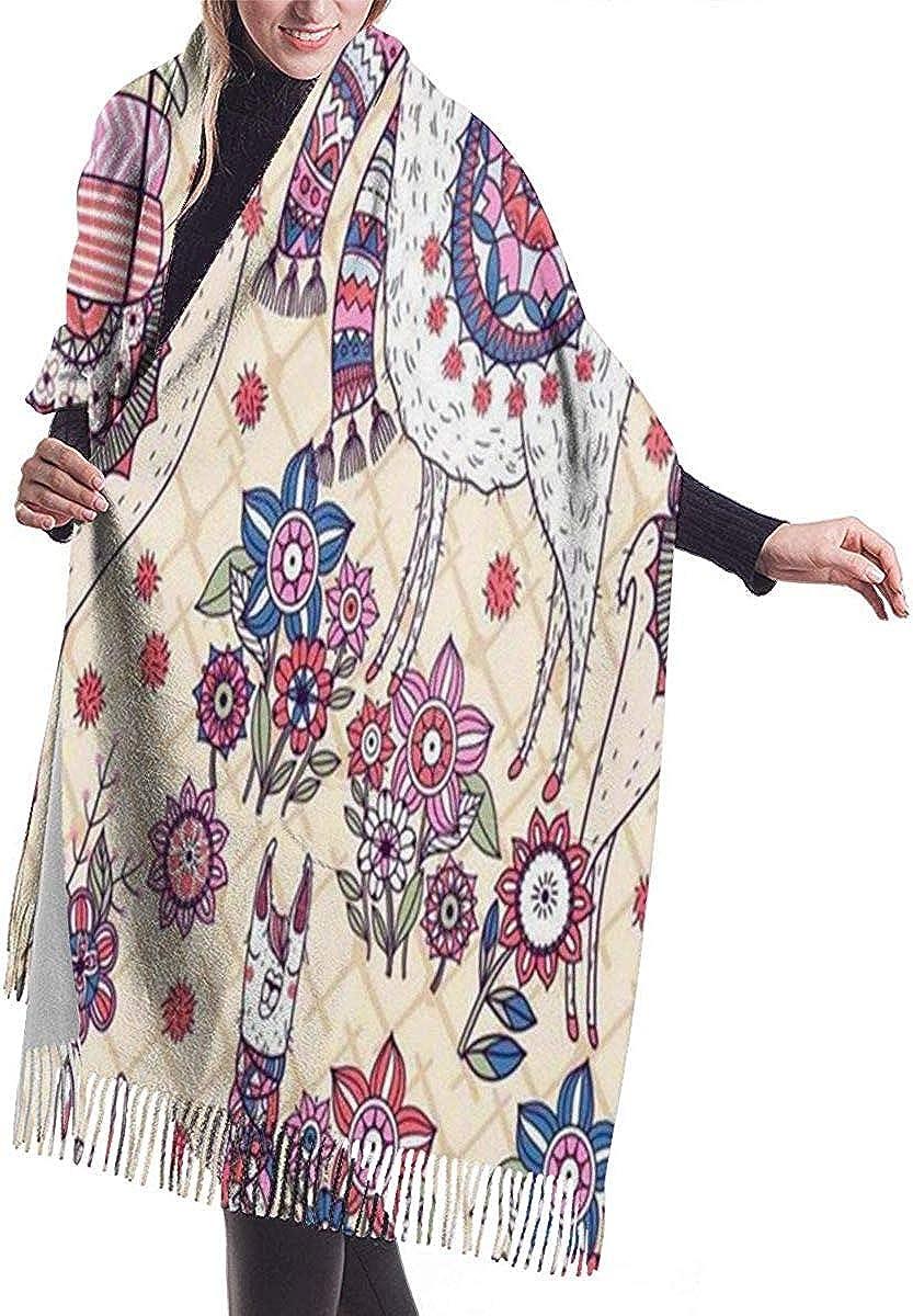 Llama Cashmere Scarf Shawl Wraps Super Soft Warm Tassel Scarves For Women Office Worker Travel
