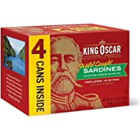 King Oscar Wild Caught Sardines in Extra Virgin Olive Oil 3.75 Ounce (Pack of 4)