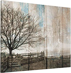 Country Farm Farmhouse Wall Decor Rustic Black And White Tree Winter Landscape Picture Canvas Art Rustic Artwork Home Farmhouse Living Room Bedroom Decor Framed Ready To Hang Painting 16'X20'