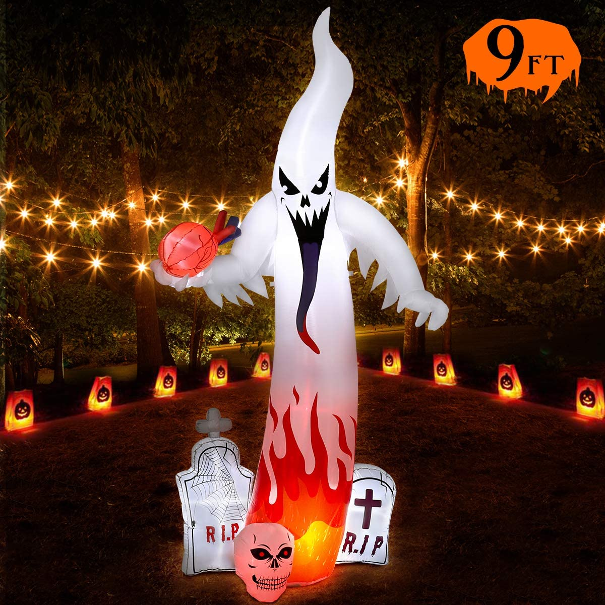 Halloween Inflatable Decorations Outdoor, 9FT Halloween Blow Up Inflatable for Yard, Garden Decorations, Build-in LEDs