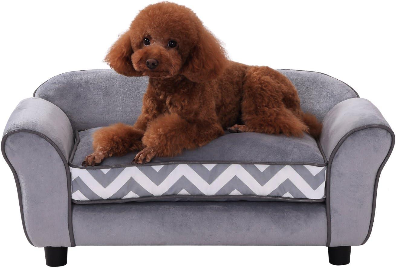 Pawhut Pet Sofa Couch Dog Cat Wooden Sponge Sofa Bed Lounge Comfortable Luxury W Cushion Grey Amazon Co Uk Pet Supplies