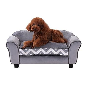Superb Pawhut Pet Sofa Couch Dog Cat Wooden Sponge Sofa Bed Lounge Comfortable Luxury W Cushion Grey Interior Design Ideas Helimdqseriescom