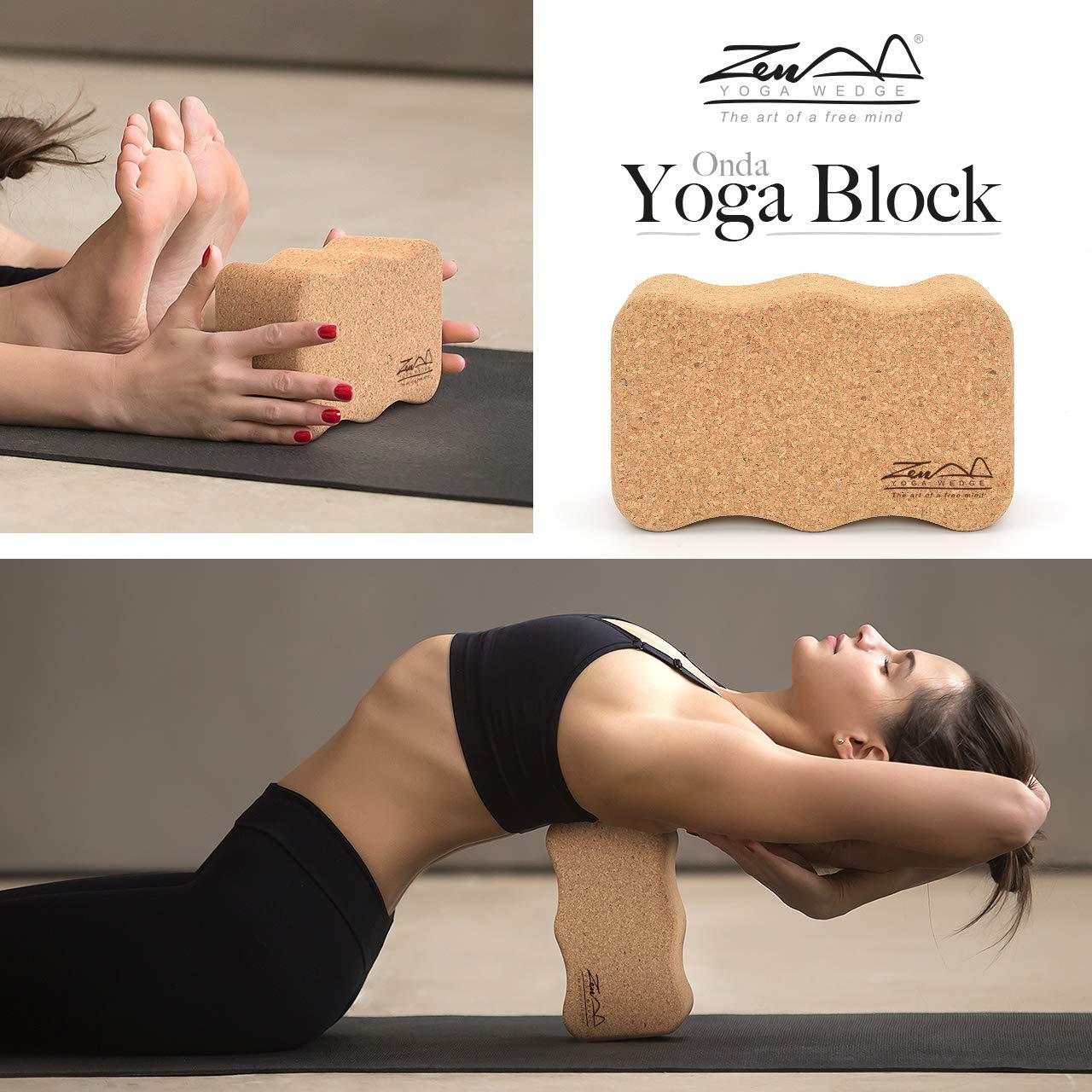 ZenYogaWedge Bloque de Corcho para Yoga, de Primera Natural ...