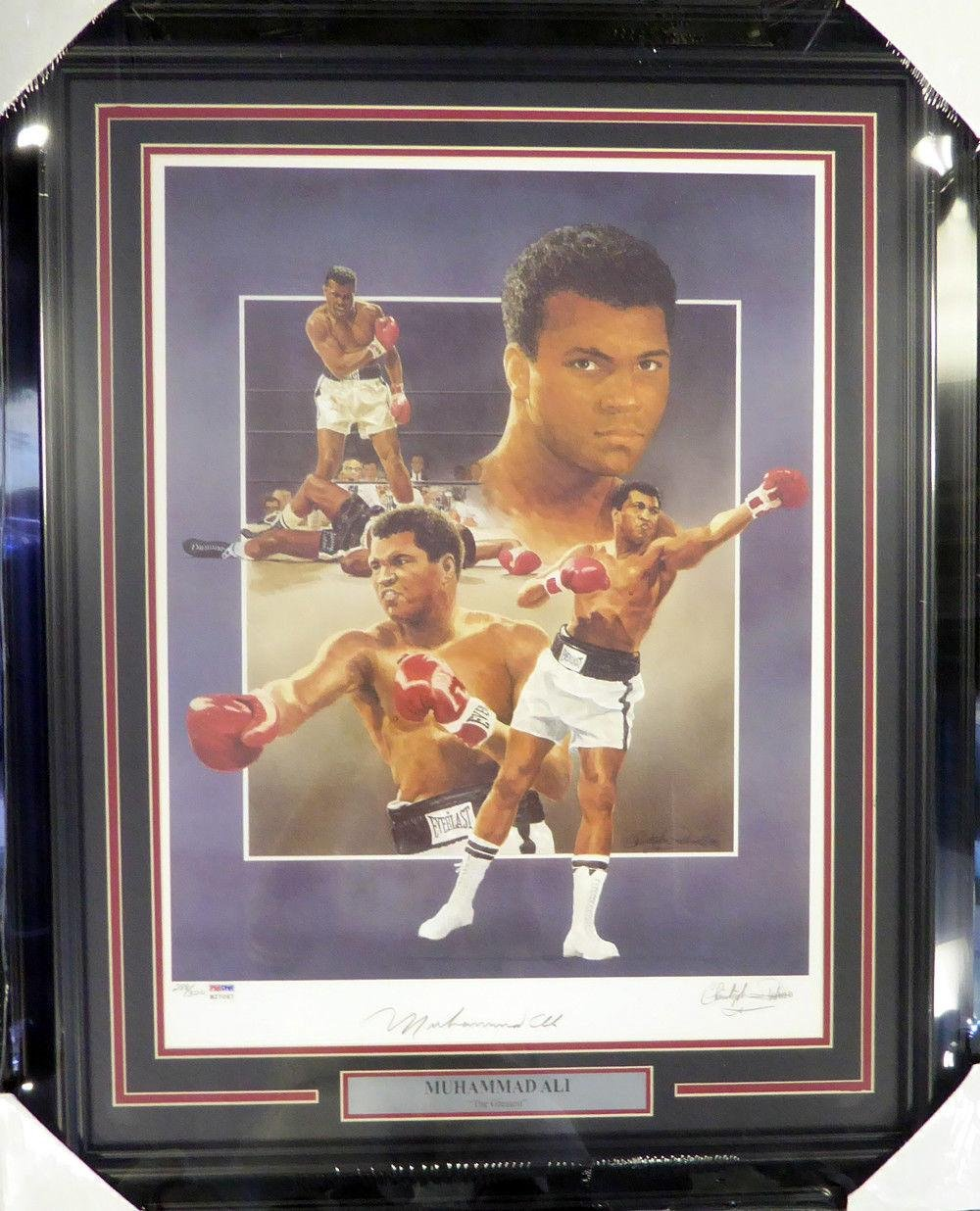 Muhammad Ali Autographed Framed 18x24 Lithograph Photo Auto Grade 10 B27067 PSA/DNA Certified Autographed Boxing Art