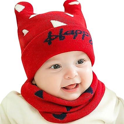 GONGZHUMAMA - Gorro de Invierno para Bebé Niños Calentito Bufanda de Lana para Recién Nacido Suave Cuello Redondo de Algodón para Niñas Otoño Hat for ...