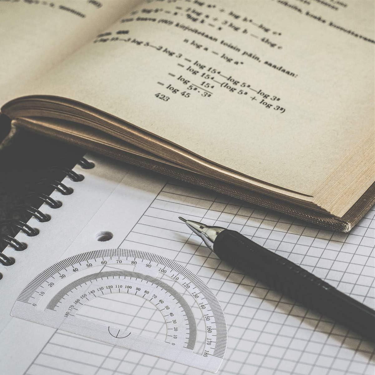 Healifty 4Pcs Studente Disegno Bussola Matematica Strumenti Geometrici Kit Metallo Matematica Strumenti Geometrici Set Piatto Triangolare Goniometro Materiale Scolastico Studenti Nero