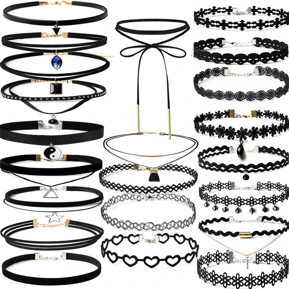 Fashion Jewelry for Women,22Pieces Choker Necklace Set Stretch Velvet Classic Gothic Tattoo Lace Choker,Women's Bracelets,Black,Women Jewelry