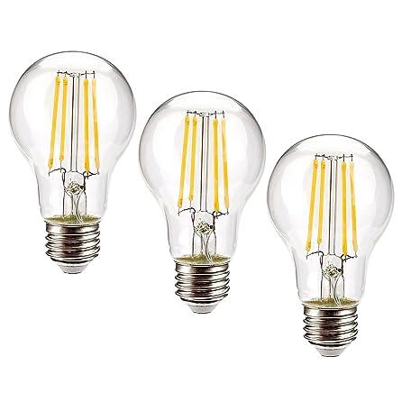 Leadleds 6,5 W A19 Vintage Edison Bombilla LED regulable, 70 W, equivalente