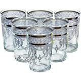 Moroccan Tea Glasses (Set of 6) (Silver)