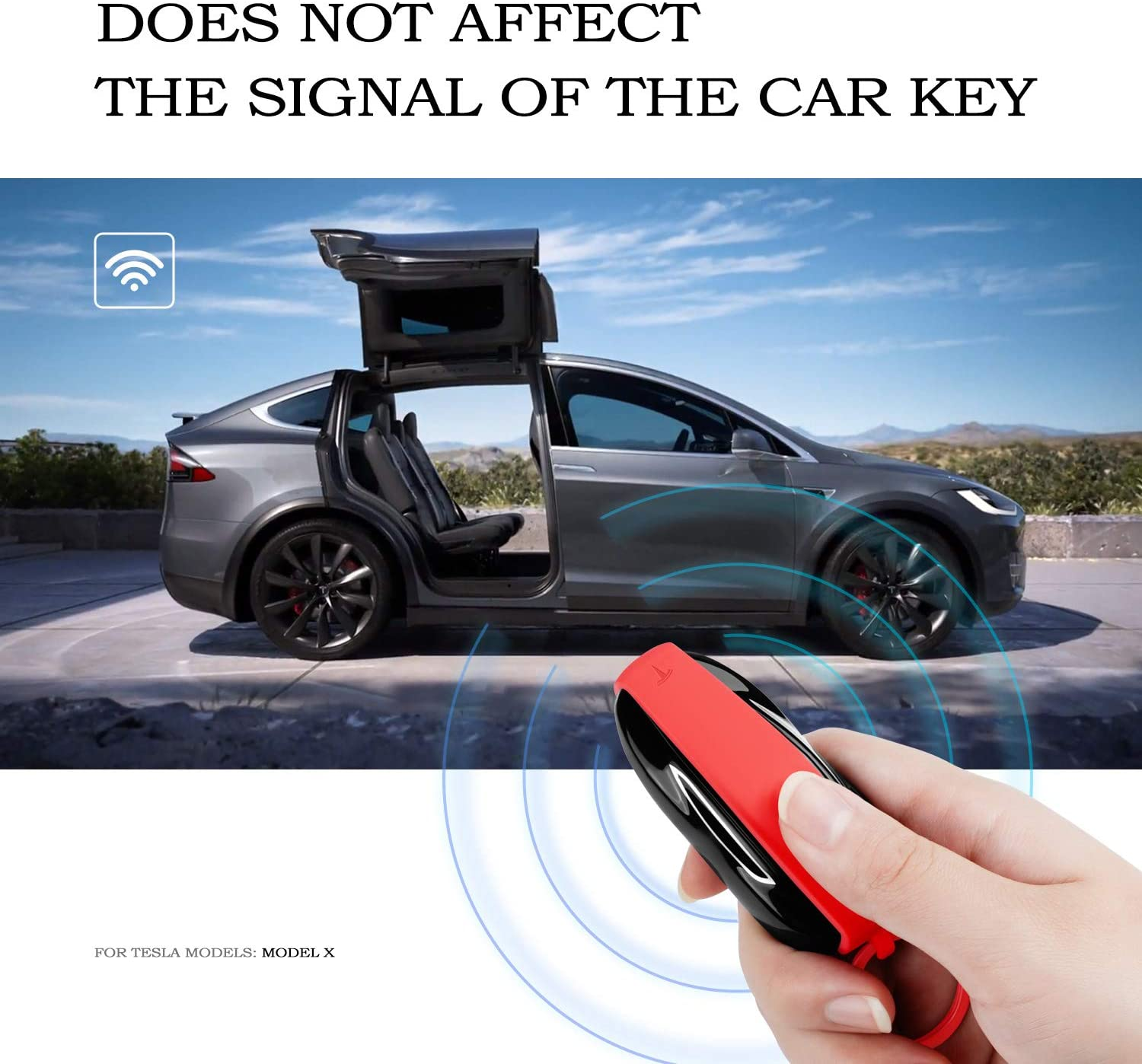 OLAIKE Key Fob Cover for Tesla Model S Silicone Car Keychain Key Cover Protector Case Holder with Key Ring Chain for Tesla Model S Accessories Black, Model S