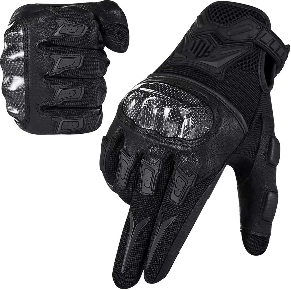 ILM Motorcycle Motocross Cycling Off-Road Dirt Bike Gloves for Men Women Touchscreen Hard Knuckle ATV MTB Guantes (Black, M)
