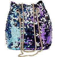Widewing Women's Shining Sequin Mini Bucket Bag Chain Crossbody Shoulder Bag One Size Blue