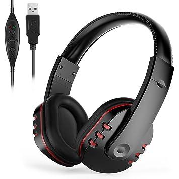 Auriculares gaming cerrados PC con micrófono, sonido envolvente Migvela Cascos con cable USB, viene