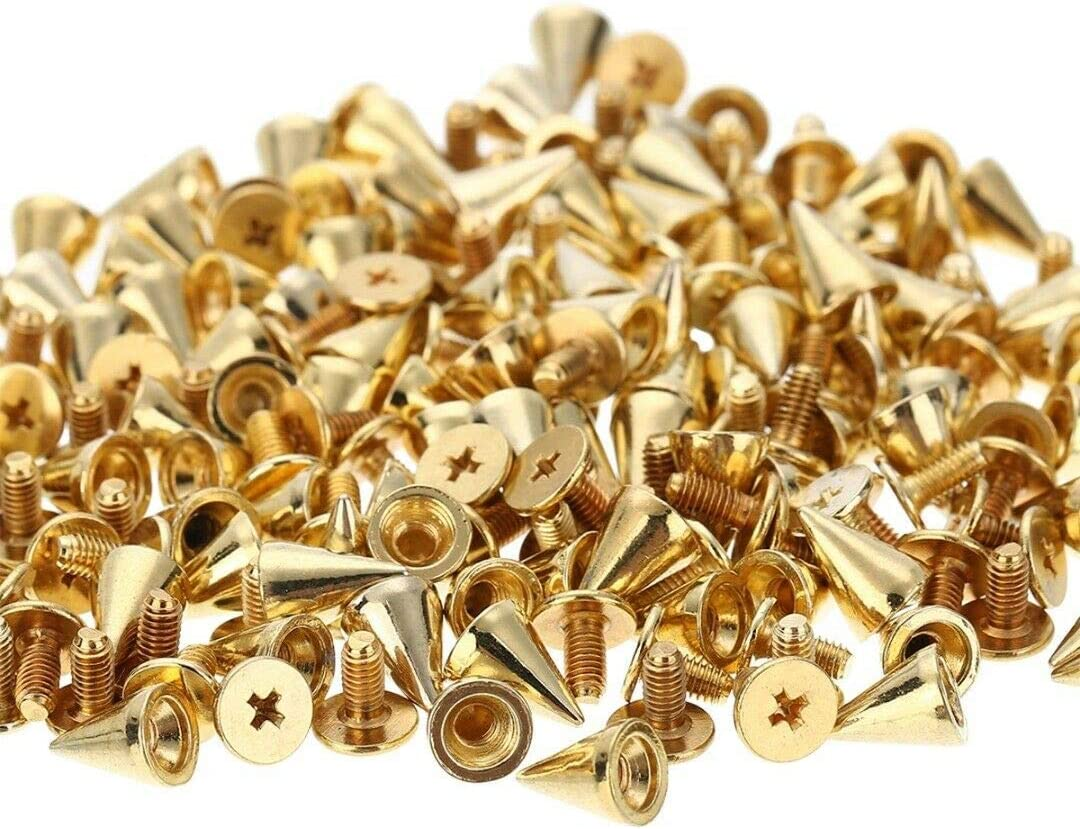 Vogueing Tool Spikes Punk 100PCS Metal Spikes Studs Punk Spikes Rivet Bronze Craft Cool Punk for DIY Bags Leather Bracelets Clothing Shoes etc