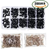 MANYEE 100Pcs Black Plastic Round Teddy Bear Safety Eyes Amigurumi Eyes with 100Pcs Matching Washers for Doll Animal Stuffed Toys All in One Box(6mm-12mm)