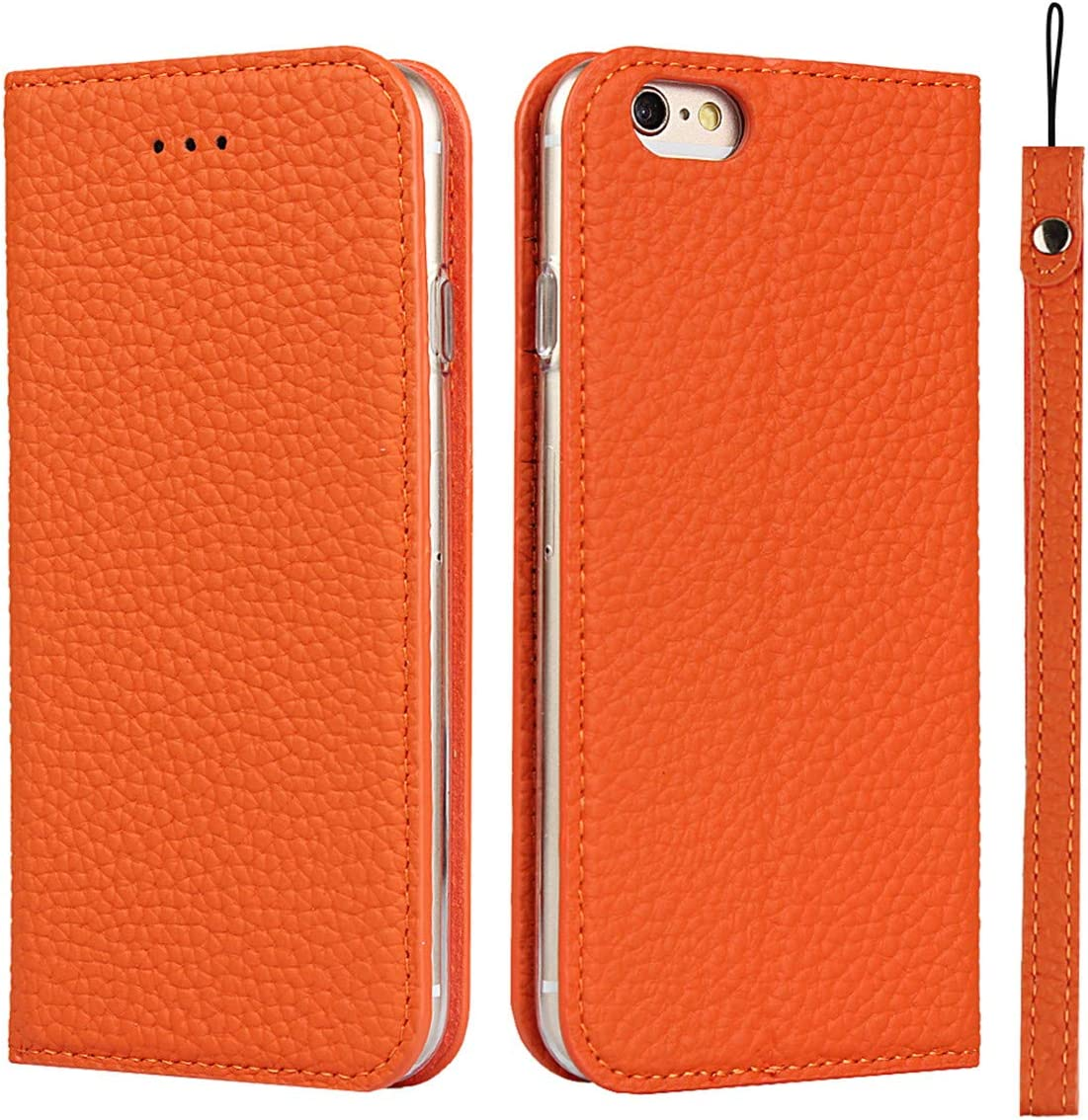 iCoverCase Genuine Leather Case for iPhone 6s Plus/iPhone 6 Plus, Wallet Case with Wrist Strap and Card Slots Magnetic Closure Kickstand Feature Flip Cover for iPhone 6s Plus/6 Plus (Orange)