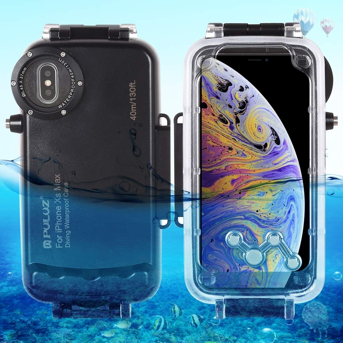 Naozbuyrig iPhone Xs Max Dry Bag Case, PULUZ 40m/130ft Waterproof Diving Housing Photo Video Taking Underwater Cover Case for iPhone Xs Max (Color : Black)