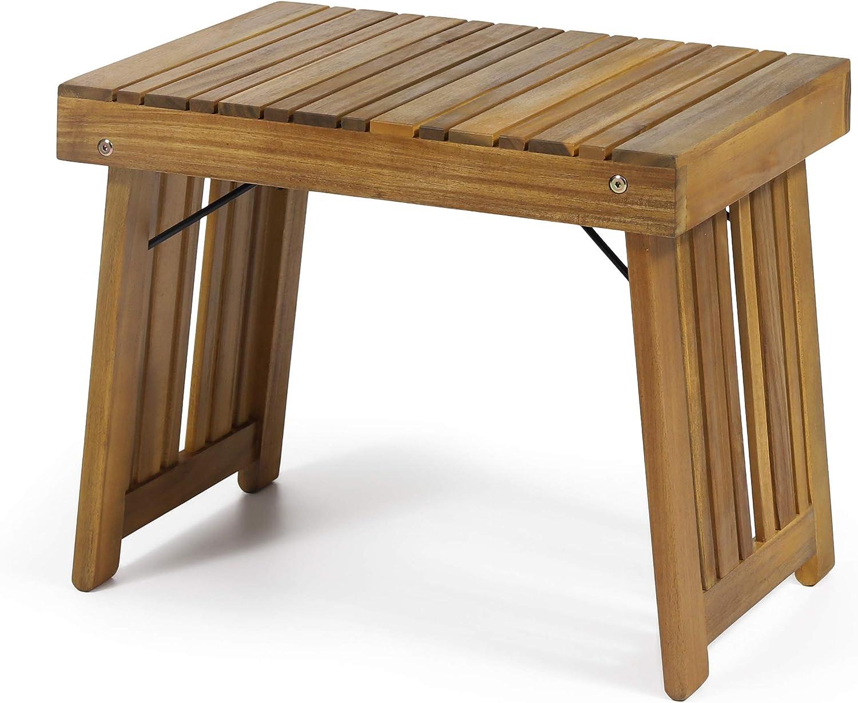 Christopher Knight Home 312744 Hilton Outdoor Acacia Wood Folding Side Table, Teak Finish