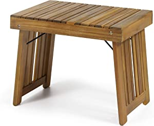 Christopher Knight Home 312744 Hilton Outdoor Acacia Wood Folding Side Table, Teak Finish