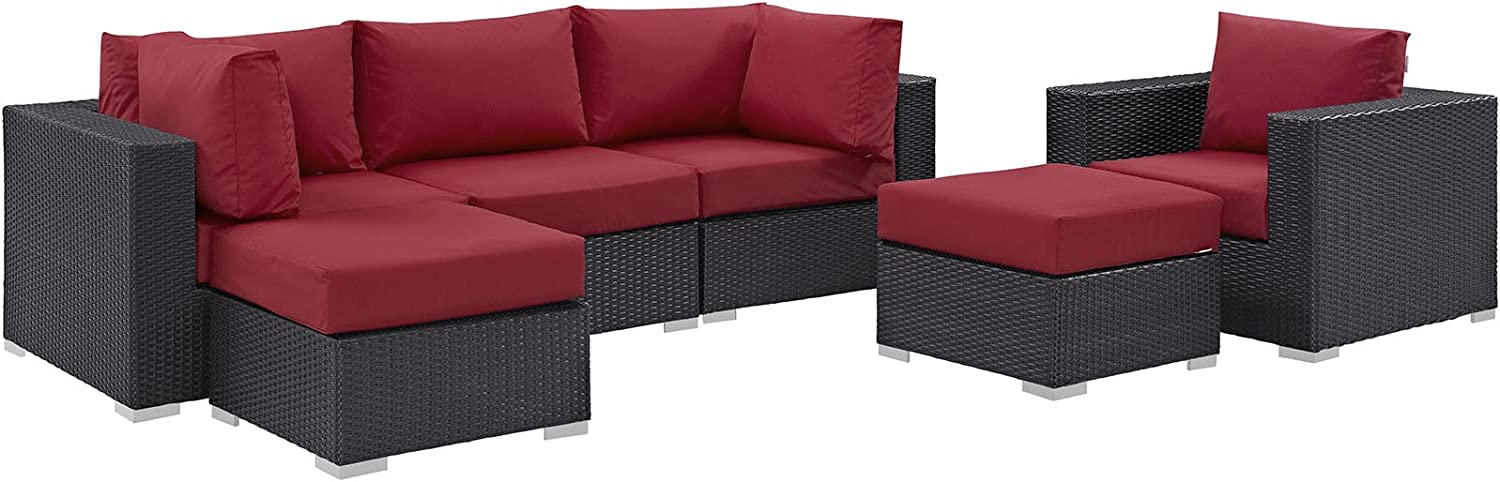 Modway Convene Wicker Rattan 6-Piece Outdoor Patio Sectional Sofa Furniture Set in Espresso Red