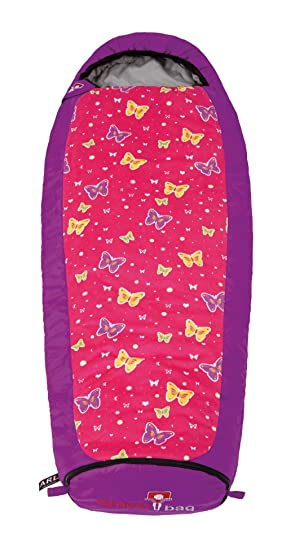 Grüezi-Bag - Saco de dormir extensible para niños, diseño de mariposa morado morado Talla:n/a: Amazon.es: Deportes y aire libre