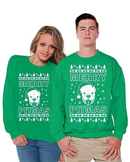 Couples Christmas Sweaters.Awkward Styles Matching Merry Pitmas Ugly Christmas Sweater