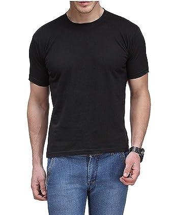 dab1a4695d29 Step Shoes Men's Black Cotton Round Neck Half Sleeve T-Shirts(Plain Tshirt  for