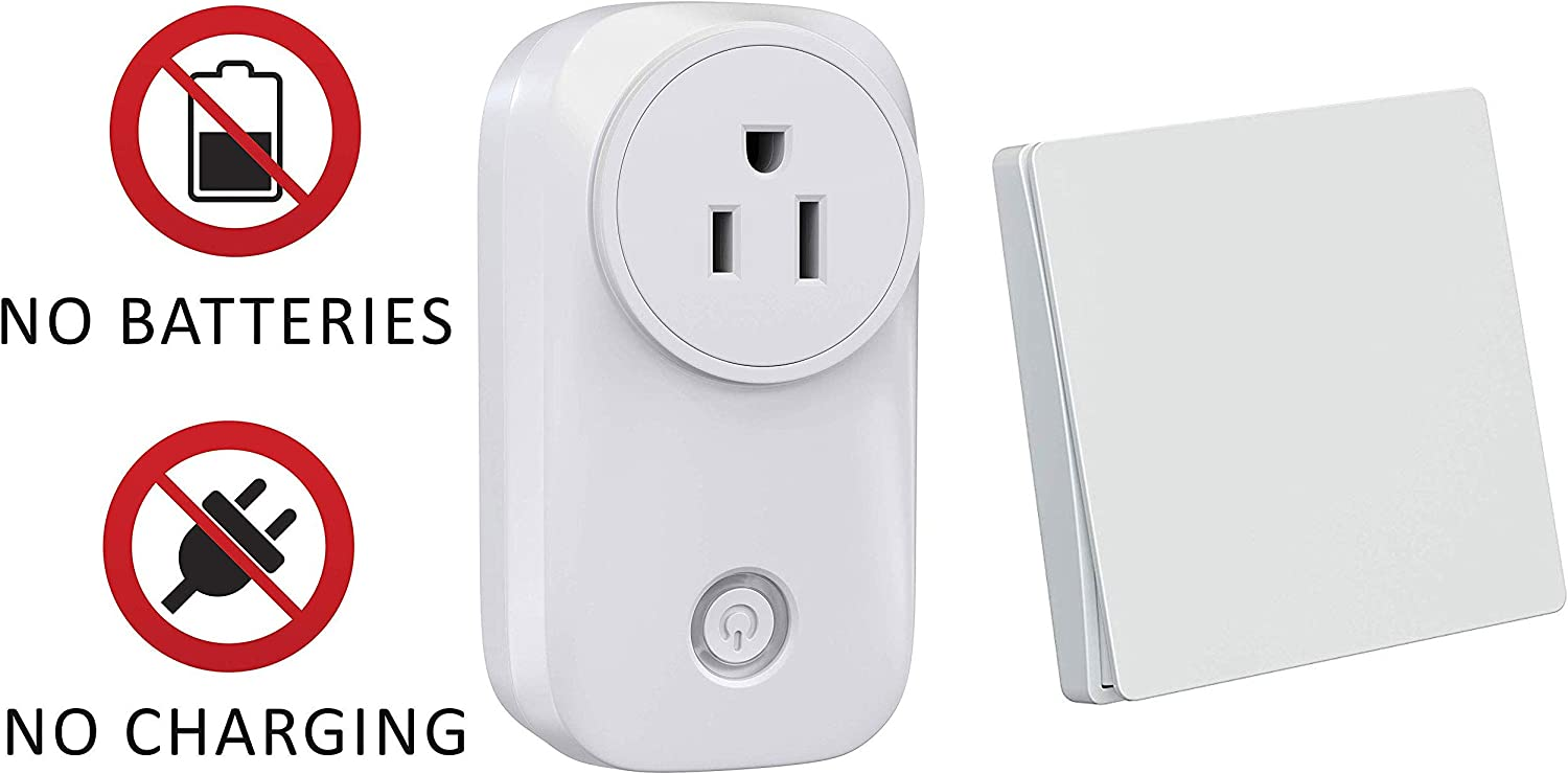 Skywin Wireless Outlet and Battery Free Kinetic Light Switch - Stick on wireless light switch for lamps and household appliances - Easy to install and completely battery free switch and RF outlet