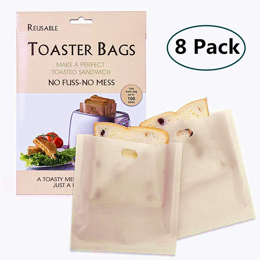 8 PSC Toaster Bags,Non-Stick Perfect for Sandwiches,Grilling,Cheese-Easy to clean,Reusable and Heat Resistant