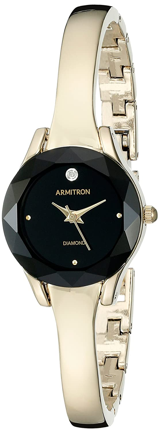 Armitron Women s 75 5327BKGP Diamond-Accented Dial Gold-Tone Bangle Watch