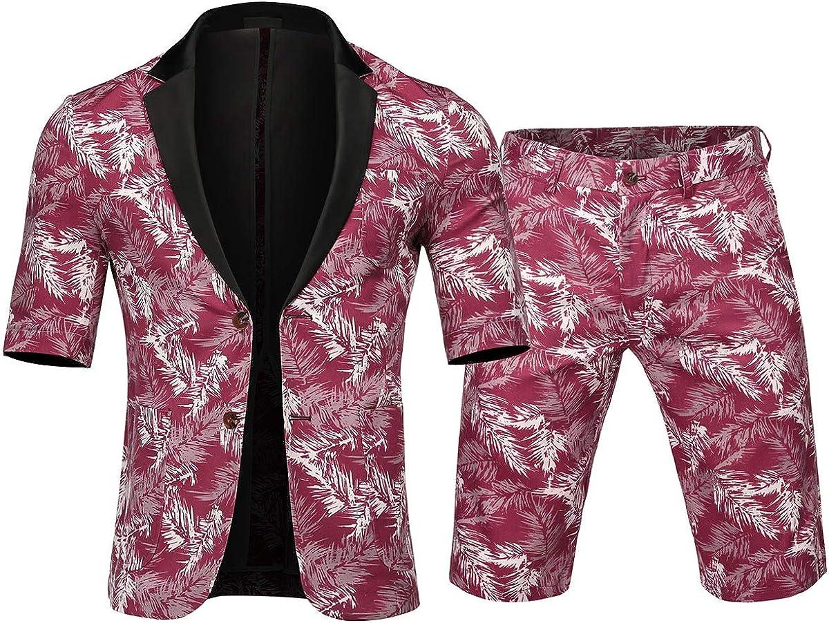 Cloudstyle Men's 2 Piece Short Sleeve Suit Hawaiian Tropical Beach Party Blazer & Pants