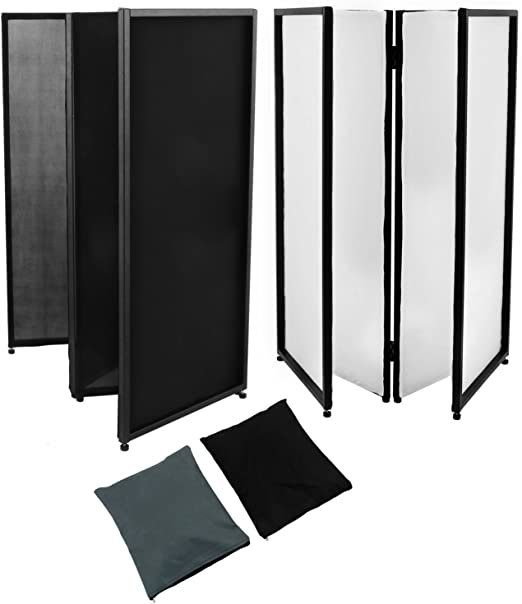 Guellin Negro y Blanco Biombo de 4 Paneles Separador de Espacios ...