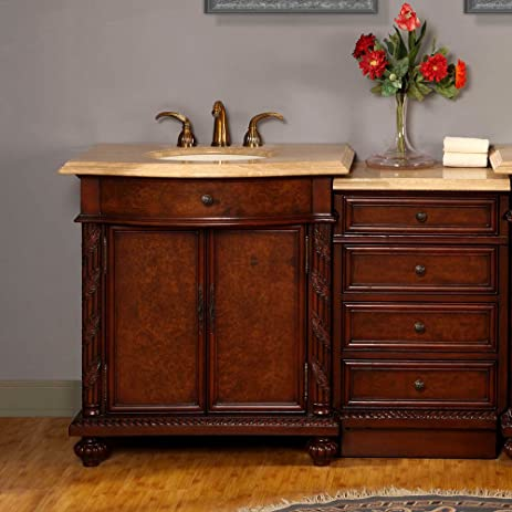 Silkroad Exclusive Travertine Stone Top Single Sink Bathroom Vanity With  LED Lighted Cabinet, 52