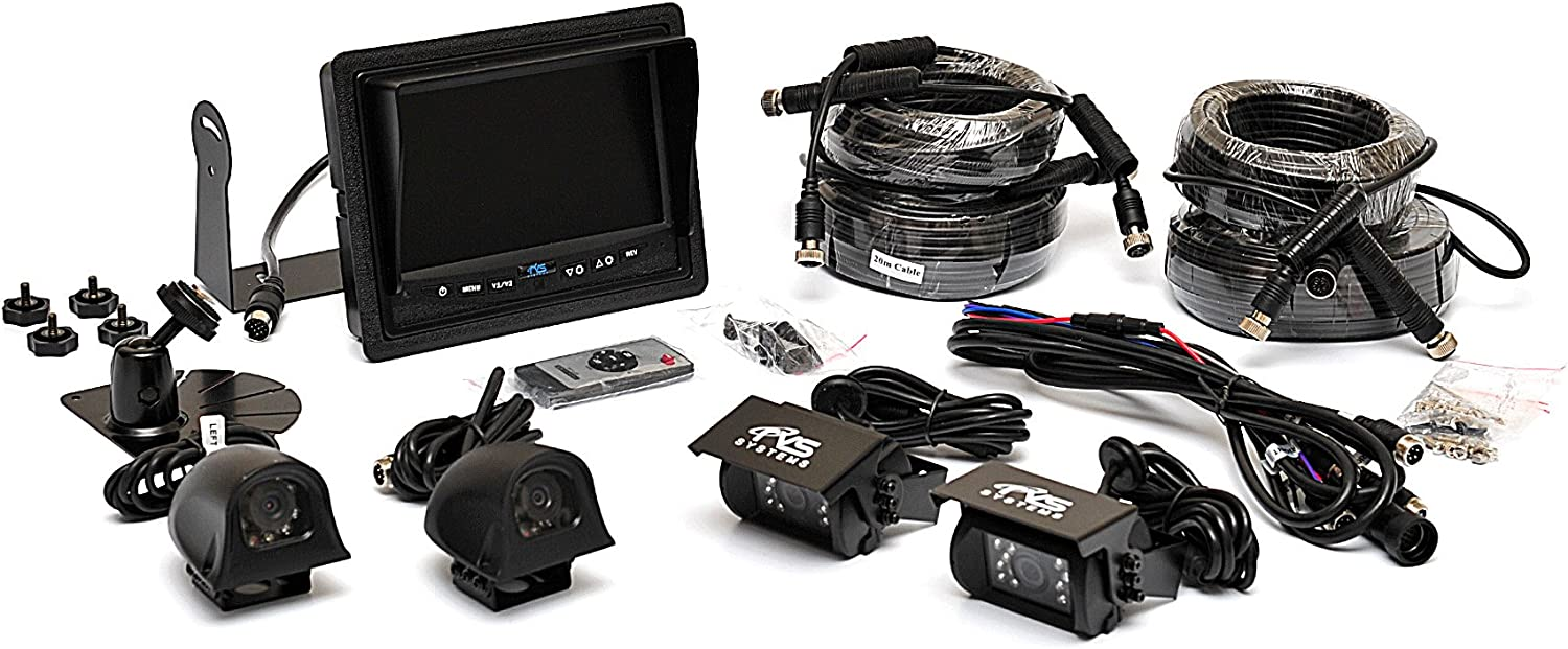 Backup Camera System – 4 Camera Setup with Quad View Display RVS-062710 by Rear View Safety