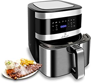 Cokunst Air Fryer 6.6 Quart 1500-Watt Power XL AirFryer Toaster Oven for Roasting/Baking/Grilling, with One-Touch Programs, 8 Presets, Dishwasher Safe Nonstick Basket & Auto Shutoff