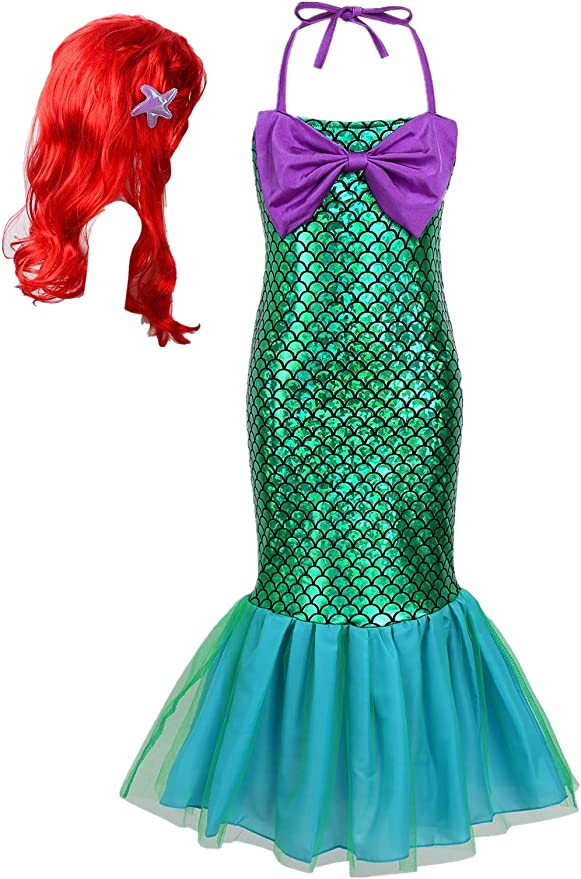 TiaoBug Kids Girls Deluxe Halloween Costumes Fairy Tale Princess Mermaid Dress with Red Long Curly Wig Hair Set